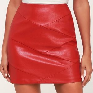 MINKPINK red faux leather skirt size XS